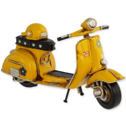 5T. Yellow «Vespa» decorative metal motorcycle in aged metal