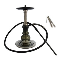 5T. 46 cm. Shisha with silver aluminum body and Ø23 cm wide glass base