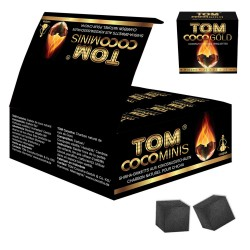 4T. Box with 12 little boxes of 9 dices of vegetal charcoal «TOM COCOCHA GOLD»