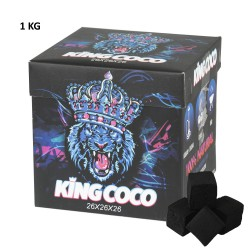 4T. Box with 1 Kg. natural coconut charcoal «KING COCO» with 64 cubes of 2,6x2,6x2,6 cm