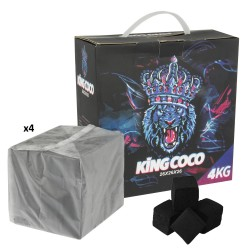 Box with 4 Kg. Coconut natural charcoal «KING COCO» with 256 cubes of 2,6x2,6x2,6 cm