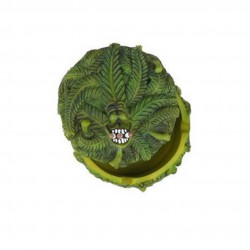 3T. Cenicero de poliresina verde con tapa y motivos cannábicos