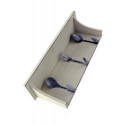 1T. Repisa de madera blanca para cocina con colgadores