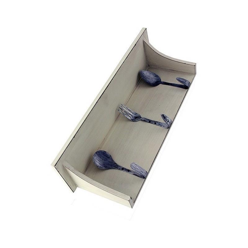 1t repisa de madera blanca para cocina con colgadores for Colgadores de madera