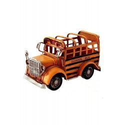 1T. Portalápices «Bus escolar» decorativo en metal envejecido