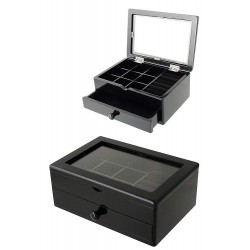 1T. Black wood jeweler with 1 drawer