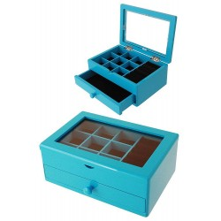 1T. Blue wood jeweler with 1 drawer