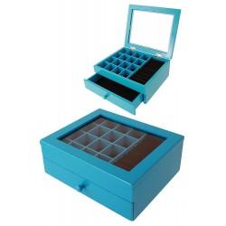 1T. Medium blue wood jeweler with 1 drawer