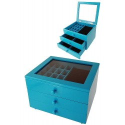 1T. Big blue wood jeweler with 2 drawers