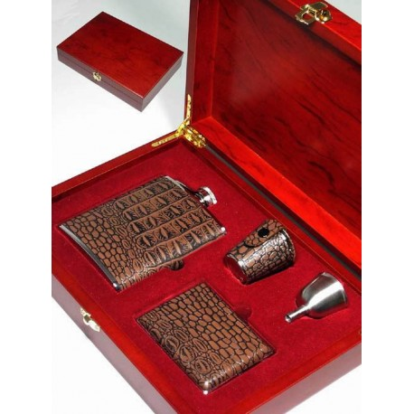 1T. 6 ozs. liquor flask set with 3 accessories on wooden case