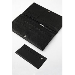 5T. Travel documents holder black in fabric/skin simile