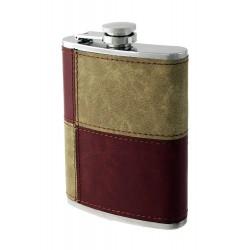 1T. 8 oz. Metallic flask. Brown/cream synthetic leather