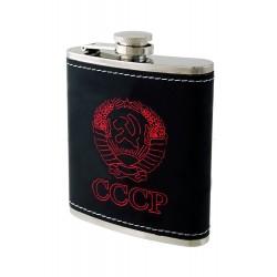 2T. 7 oz. Metallic flask plain «CCCP». Black synthetic leather