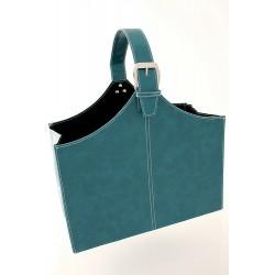 5T. Faux leather foldable magazine rack turquoise blue