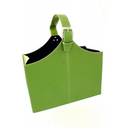 5T. Faux leather foldable magazine rack green