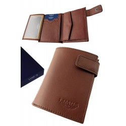 3T. Brown leather wallet with purse «Limus»