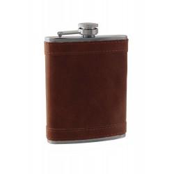 2T. 8 oz. Metallic flask in «Havana« synthetic leather