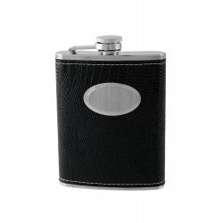 2T. 8 oz. Metallic flask in black synthetic leather