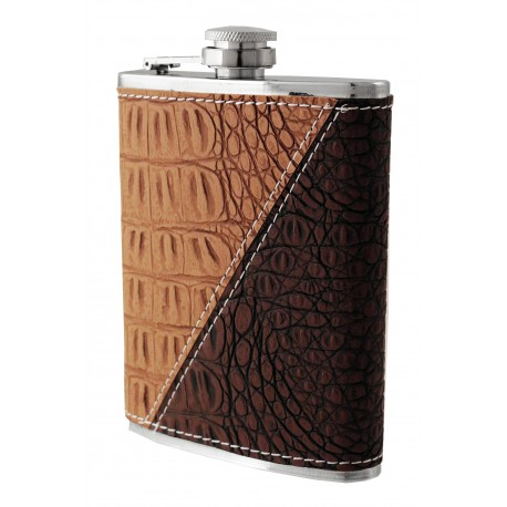 1T. 8 oz. Metallic  flask in simile leather two brown colours