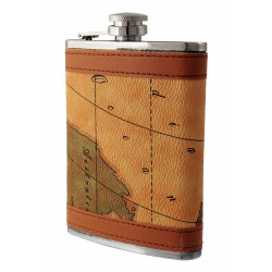 1T. 8 oz. Metallic flask with map in leather simile