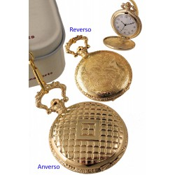 1T. Pocket watch in golden metal with diamonds and floral pattern. With  metal case