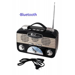 1T. Black radio retro multiband rechargeable with lantern of leds adjustable.