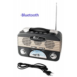 1T. Grey radio retro multiband rechargeable with lantern of leds adjustable.