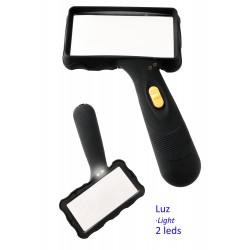1T. Black rectangular magnifying glass with light (2 leds).