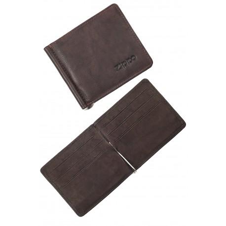 3T. Money clip card Wallet  «Zippo» Brown