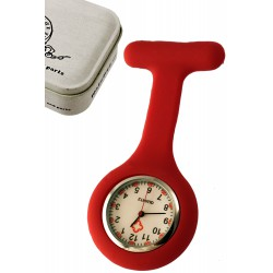1T. Clock of hanging in red silicone with safe «Nurse». In metallic case.