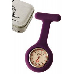 1T. Clock of hanging purple in silicone with safe «Nurse». In metallic case.