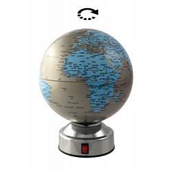 1T. Ø14 cm. Silver & blue rotating globe.