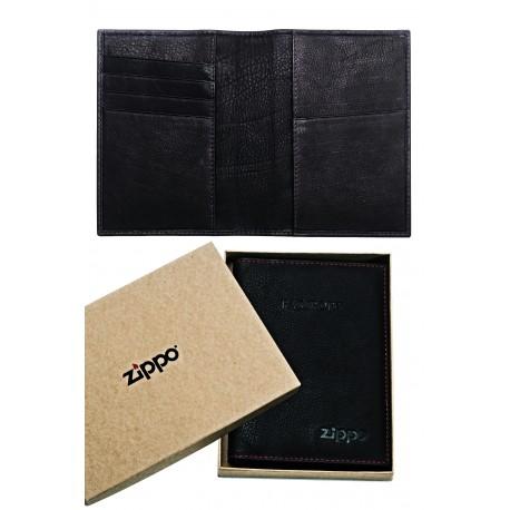 3T. Black leather passport holder «Zippo»