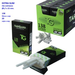 1T. 138 Pre-cut filters «TG» EXTRA SLIM of Ø 5.7 mm in display of 20 boxes.