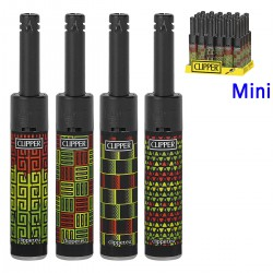 4T. Display with 24 Clipper piezo lighters «MINI TUBE JAMAICA 3»