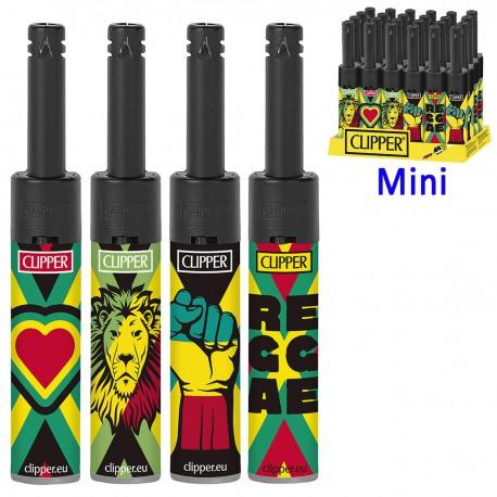 4T. Display with 24 Clipper piezo lighters «MINI TUBE JAMAICA REGGAE»