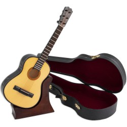 5T. Decorative miniature wooden spanish guitar. With case & support