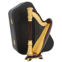 5T. Decorative miniature wooden Harp. With case