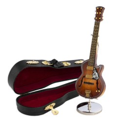 5T. Decorative miniature electric guitar classic in wood. With metallic support & case