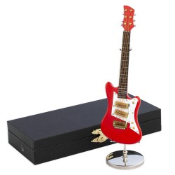 5T. Decorative miniature red electric guitar in wood. With metallic support & case