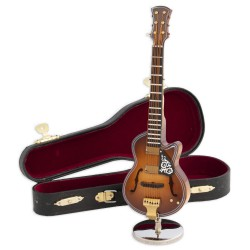 5T. Decorative miniature red electric guitar classic in wood. With metallic support & case