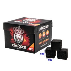 4T. Box with 1 Kg. natural coconut charcoal «KING COCO» with cubes of 2,8x2,8x2,8 cm