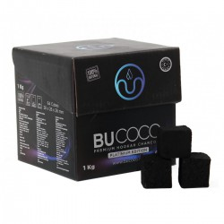 4T. Box of 1 Kg. Charcoal «BUCOCO» with 64 dice of 2.6x2.6x2.6 cm