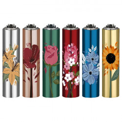 4T. Mini «Clipper» «FLOWERS» Exp. 30 encendedores con funda metal