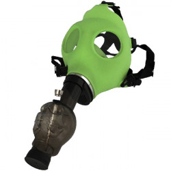 1T. Latex green mask with black skull shape bong