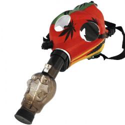 1T. Latex rastafari mask with black skull shape bong