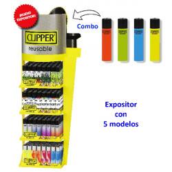 4T. «Clipper COMBO SHAPE-MIX 3» expositor con 5 exp. 48 encendedores